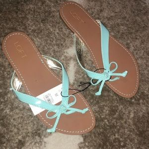 Mint green bow sandals from Loft